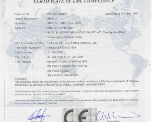 Certificate Panouri Radiante Sunjoy CE emc
