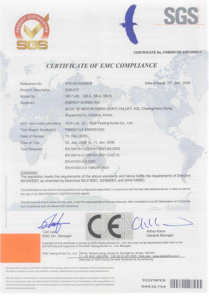 Certificate CE emc Panouri Radiante Sunjoy