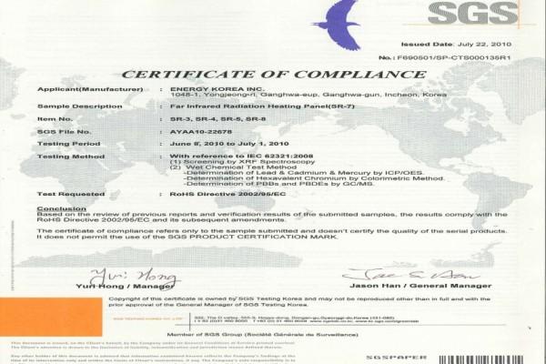 Certificat Rohs Panouri Radiante Sunjoy