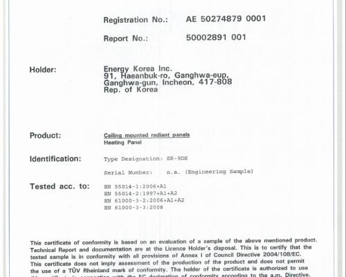 Certificat TÜV Electromagnetic Panouri Radiante Sunjoy