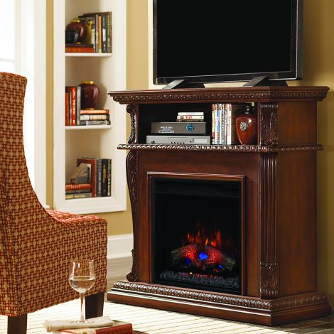 Tv media console media stand ClassicFlame Corinth Walnut