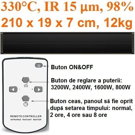 incalzitor electric panouri radiante electricsun 3200w negru