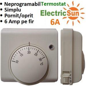termostat mecanic, termostat cu fir, termostat ambient pret, termostat camera electricsun 6A