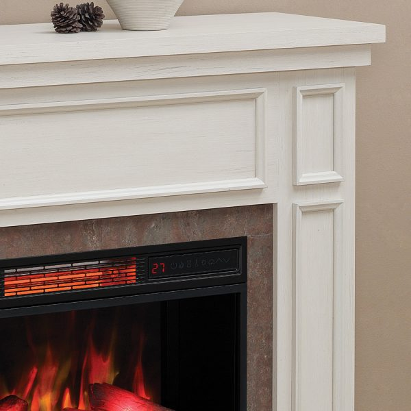 newcastle-white-close-up Seminee electrice Classic Flame Newcastle White Antique 23 alb
