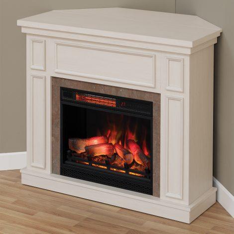 newcastle-white-corner Seminee electrice Classic Flame Newcastle White Antique 23 alb