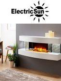 Semineu electric 3D ElectricSun Paula alb mediu 48 pe perete