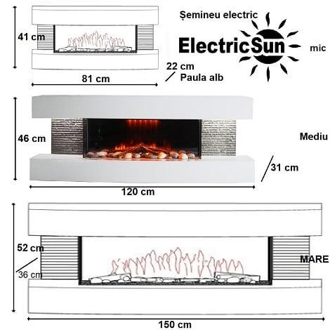 Semineu electric 3D ElectricSun Paula alb mediu