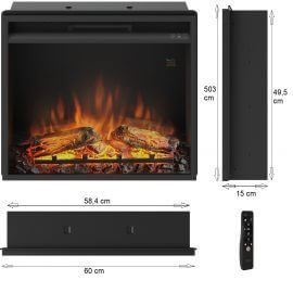Focar electric incorporabil 3D Tagu PowerFlame 23 inch