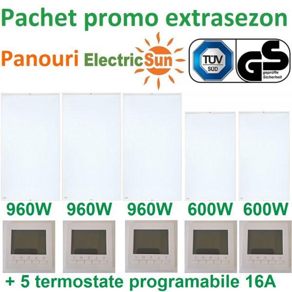 Pachet promo 5 panouri radiante electricsun cu termostate 16A
