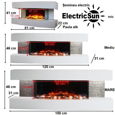 Semineu electric 3D ElectricSun Paula alb mic mediu Mare 3